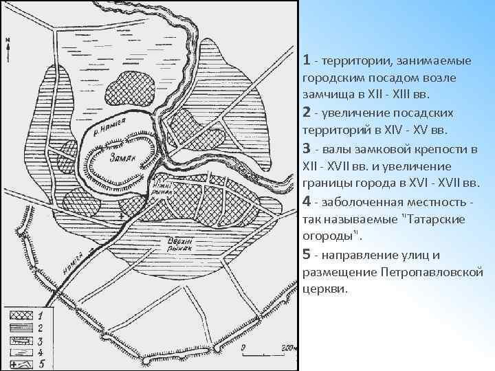 1 - территории, занимаемые городским посадом возле замчища в XII - XIII вв. 2