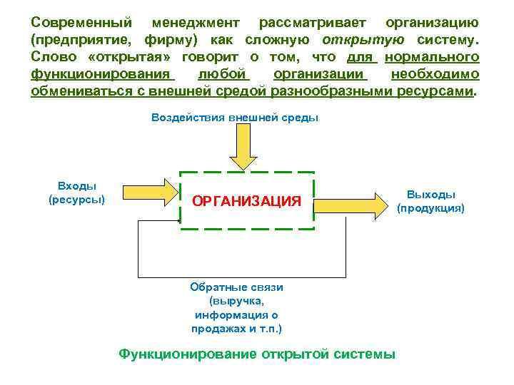 Современный менеджмент рассматривает организацию (предприятие, фирму) как сложную открытую систему. Слово «открытая» говорит о
