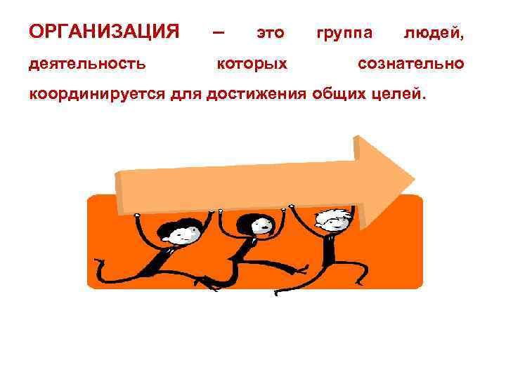 ОРГАНИЗАЦИЯ – деятельность которых это группа людей, сознательно координируется для достижения общих целей.