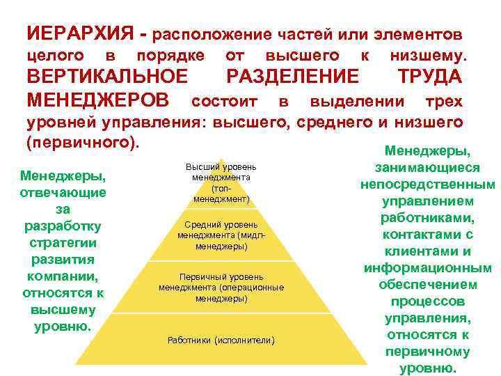ИЕРАРХИЯ - расположение частей или элементов целого в порядке от высшего к низшему. ВЕРТИКАЛЬНОЕ