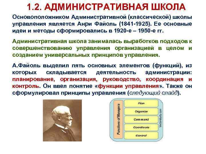 1. 2. АДМИНИСТРАТИВНАЯ ШКОЛА Основоположником Административной (классической) школы управления является Анри Файоль (1841 -1925).