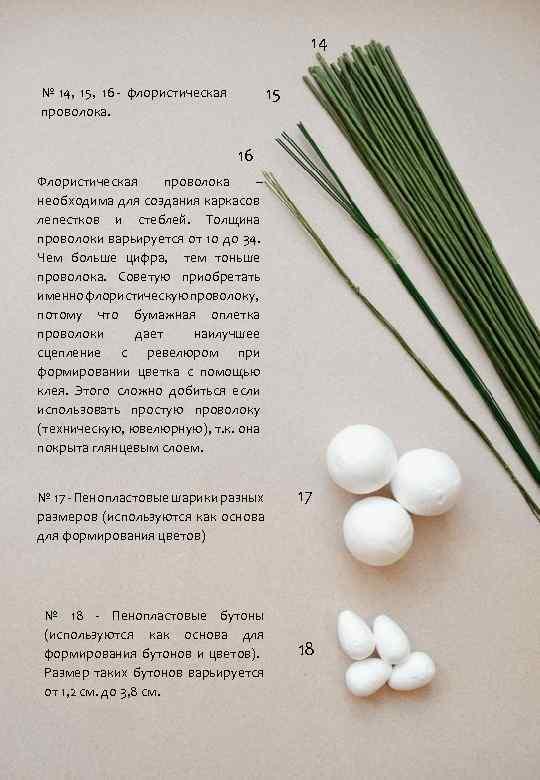 14 15 № 14, 15, 16 - флористическая проволока. 16 Флористическая проволока – необходима