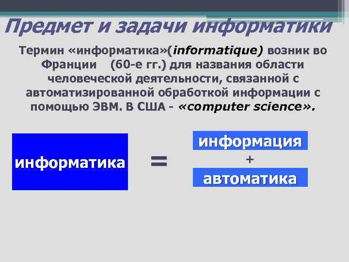 Предмет и задачи информатики Термин «информатика» (informatique) возник во «информатика» ( Франции (60 -е