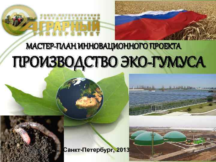 МАСТЕР-ПЛАН ИННОВАЦИОННОГО ПРОЕКТА ПРОИЗВОДСТВО ЭКО-ГУМУСА Санкт-Петербург, 2013