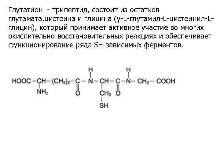 Глутатион - трипептид, состоит из остатков глутамата, цистеина и глицина (γ-L-глутамил-L-цистеинил-Lглицин), который принимает активное