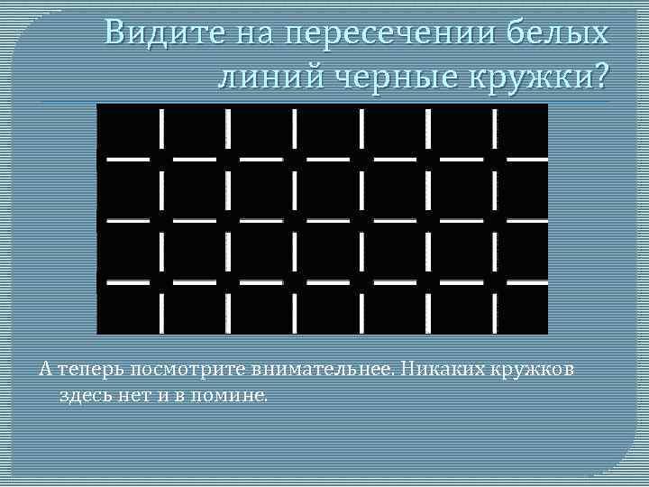 Видите на пересечении белых линий черные кружки? А теперь посмотрите внимательнее. Никаких кружков здесь