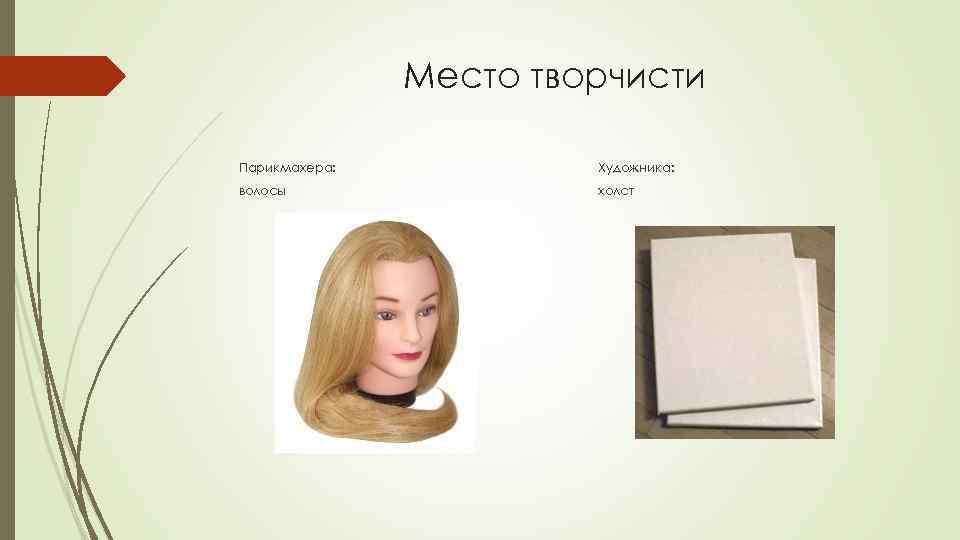 Место творчисти Парикмахера: Художника: волосы холст