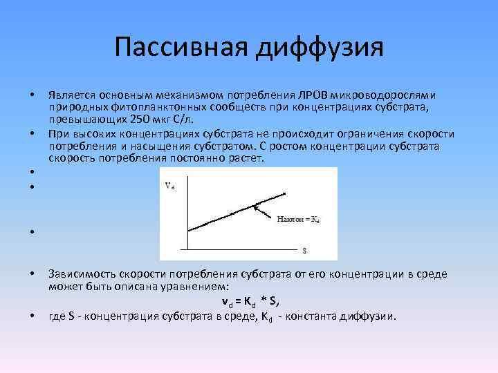 Пассивная диффузия • • Является основным механизмом потребления ЛРОВ микроводорослями природных фитопланктонных сообществ при