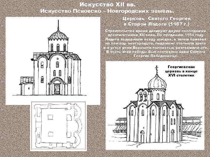 Искусство XII вв. Искусство Псковско – Новгородских земель. Церковь Святого Георгия в Старой Ладоге