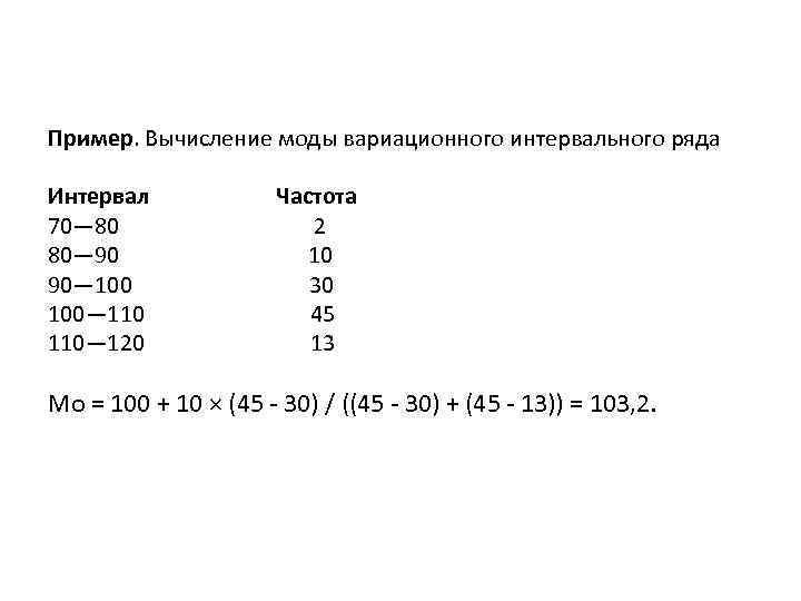 Пример. Вычисление моды вариационного интервального ряда Интервал Частота 70— 80 2 80— 90 10