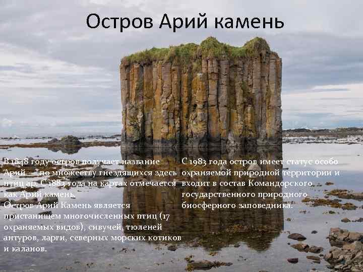 Остров Арий камень С 1983 года остров имеет статус особо В 1848 году остров