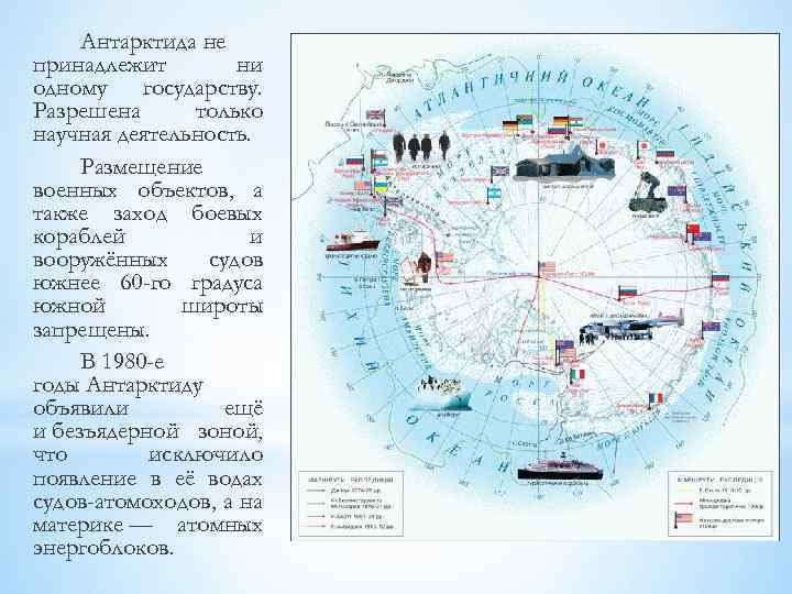 Антарктида не принадлежит ни одному государству. Разрешена только научная деятельность. Размещение военных объектов, а