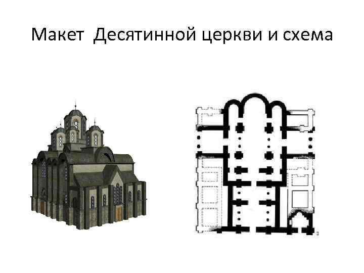 Макет Десятинной церкви и схема