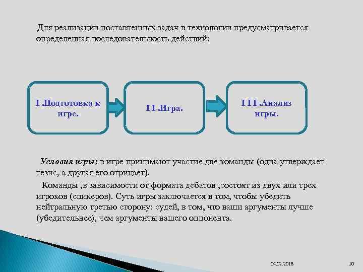 Для реализации поставленных задач в технологии предусматривается определенная последовательность действий: I. Подготовка к игре.