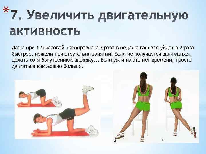 * Даже при 1, 5 -часовой тренировке 2 -3 раза в неделю ваш вес