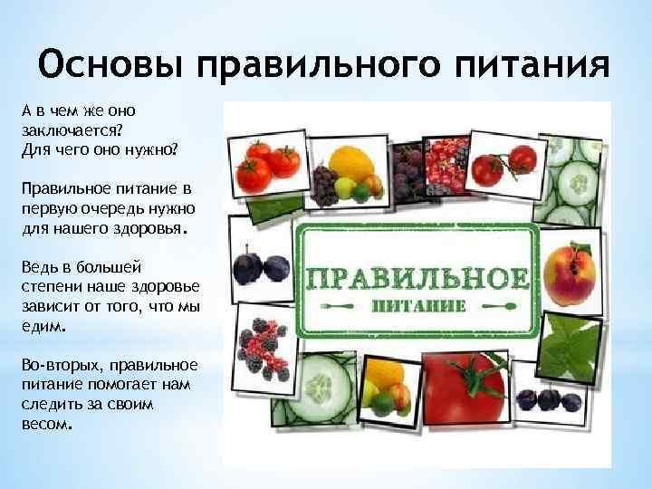 Основы правильного питания А в чем же оно заключается? Для чего оно нужно? Правильное