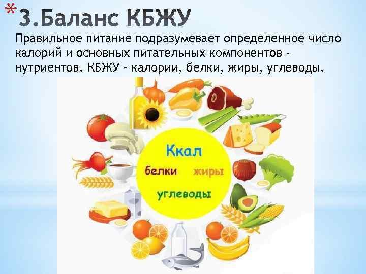 * Правильное питание подразумевает определенное число калорий и основных питательных компонентов нутриентов. КБЖУ -