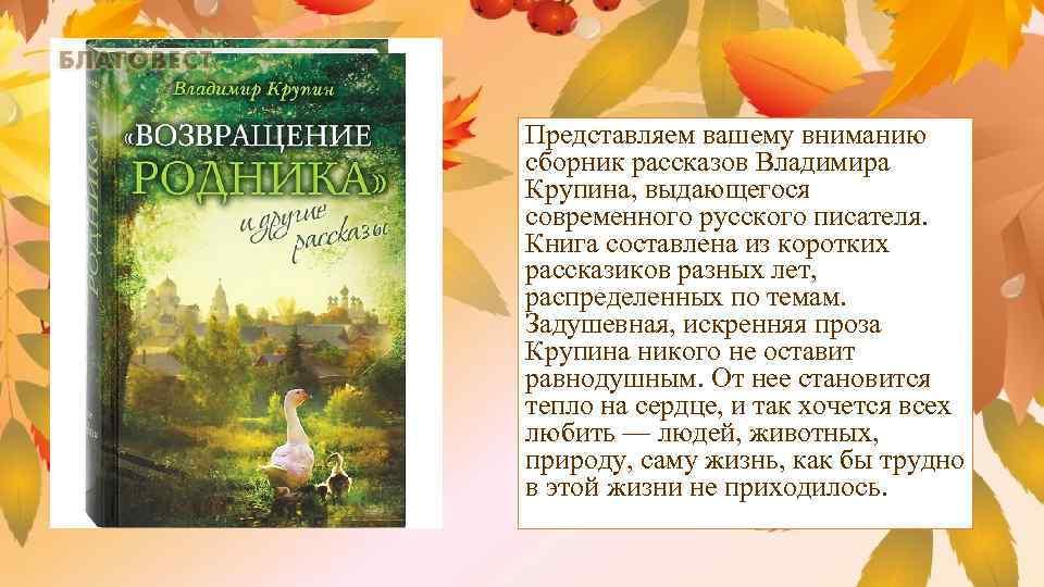 Представляем вашему вниманию сборник рассказов Владимира Крупина, выдающегося современного русского писателя. Книга составлена из