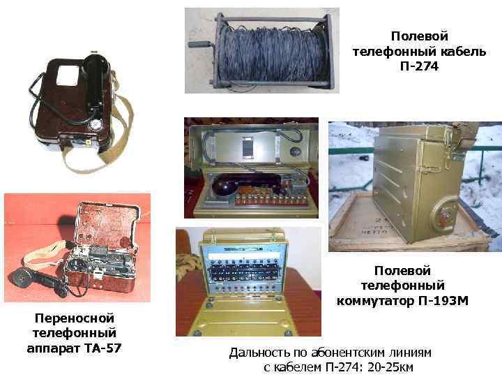 Полевой телефонный кабель П-274 Полевой телефонный коммутатор П-193 М Переносной телефонный аппарат ТА-57 Дальность