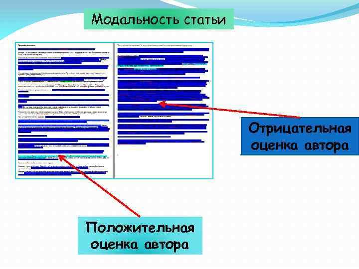 Модальность статьи Отрицательная оценка автора Положительная оценка автора