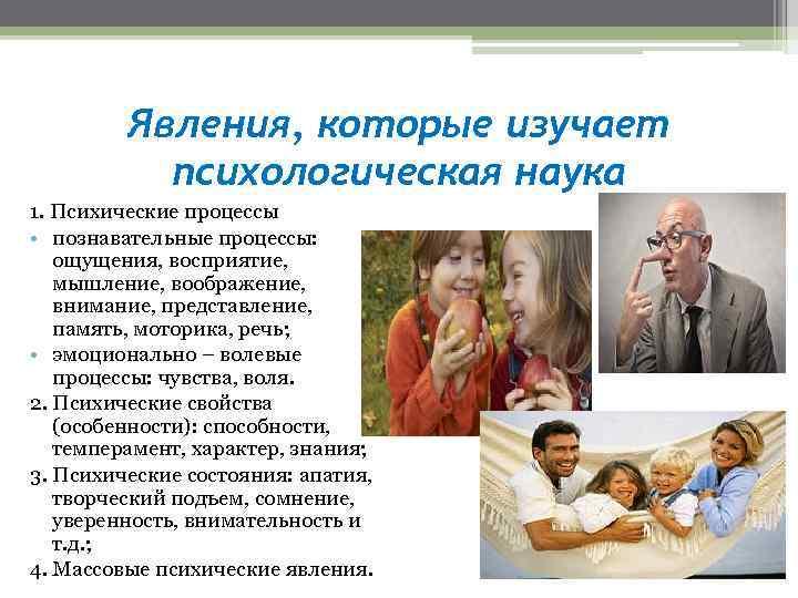 Явления, которые изучает психологическая наука 1. Психические процессы • познавательные процессы: ощущения, восприятие, мышление,