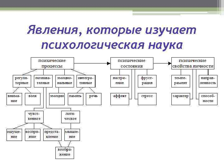Явления, которые изучает психологическая наука