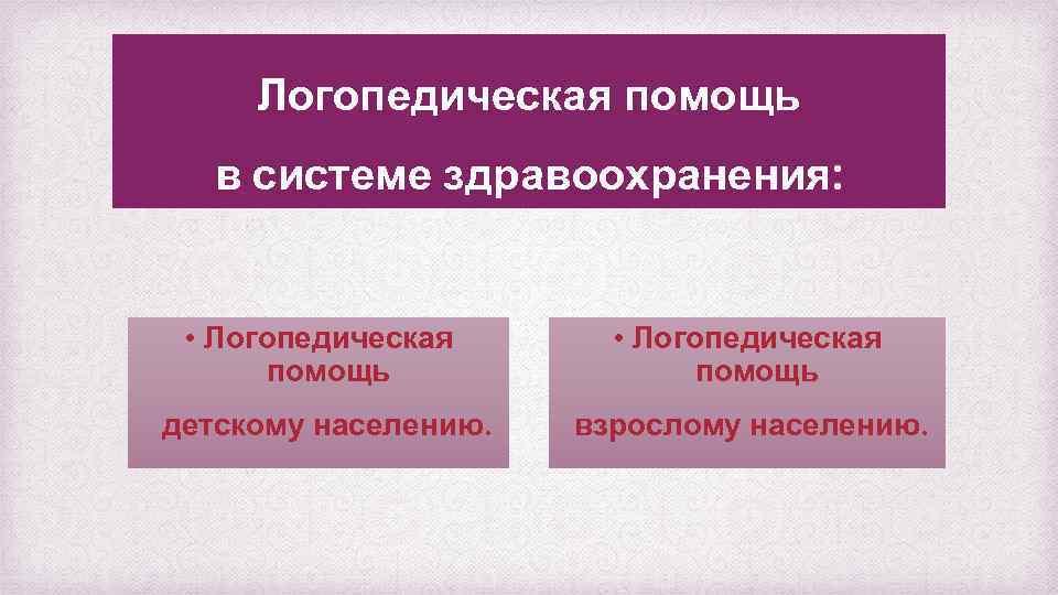 Логопедическая помощь в системе здравоохранения: • Логопедическая помощь детскому населению. взрослому населению.