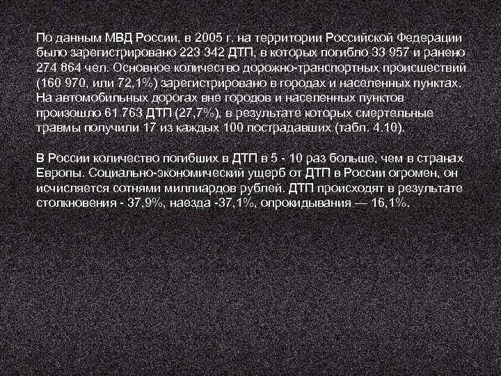 По данным МВД России, в 2005 г. на территории Российской Федерации было зарегистрировано 223