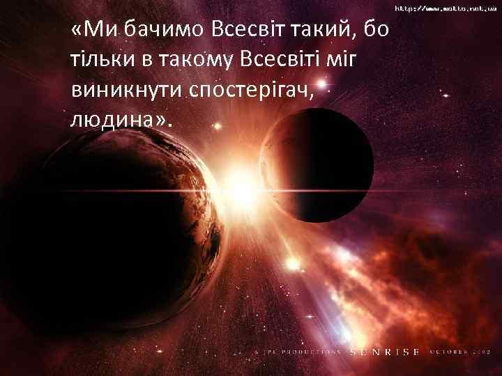 «Ми бачимо Всесвіт такий, бо тільки в такому Всесвіті міг виникнути спостерігач, людина»