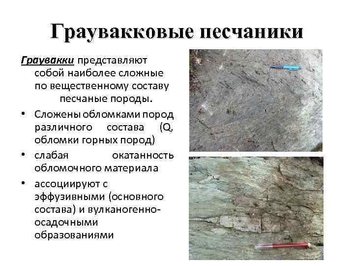 Граувакковые песчаники Граувакки представляют собой наиболее сложные по вещественному составу песчаные породы. • Сложены