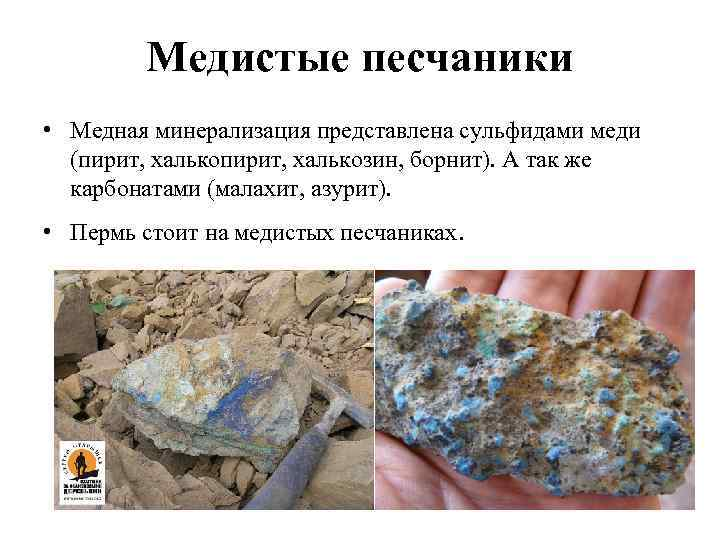 Медистые песчаники • Медная минерализация представлена сульфидами меди (пирит, халькозин, борнит). А так же