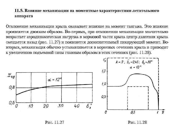 11. 5. Влияние механизации на моментные характеристики летательного аппарата Отклонение механизации крыла оказывает влияние