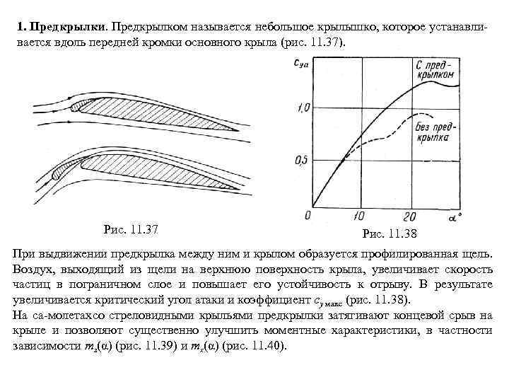 1. Предкрылки. Предкрылком называется небольшое крылышко, которое устанавли вается вдоль передней кромки основного крыла