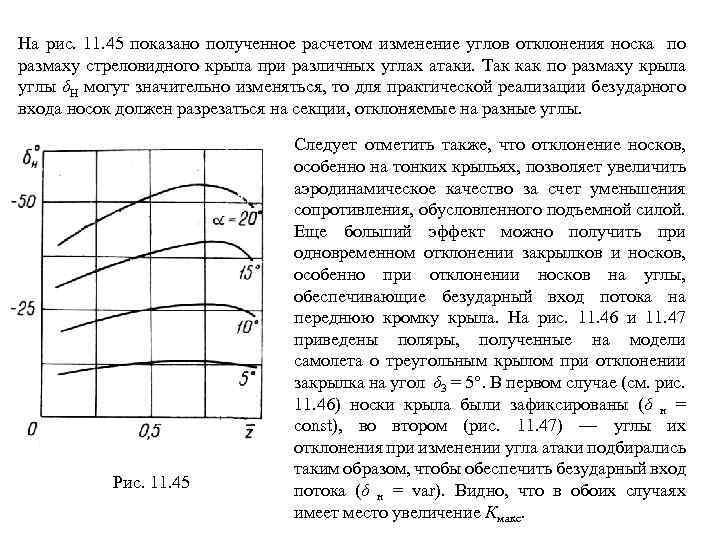 На рис. 11. 45 показано полученное расчетом изменение углов отклонения носка по размаху стреловидного
