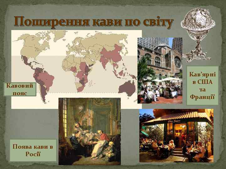 Поширення кави по світу Кавовий пояс Поява кави в Росії Кав'ярні в США та