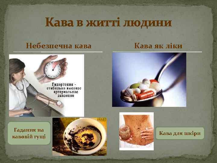 Кава в житті людини Небезпечна кава Гадання на кавовій гущі Кава як ліки Кава