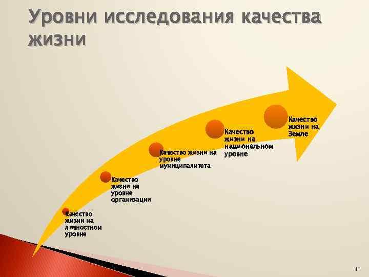 Уровни исследования качества жизни Качество жизни на уровне муниципалитета Качество жизни на национальном уровне