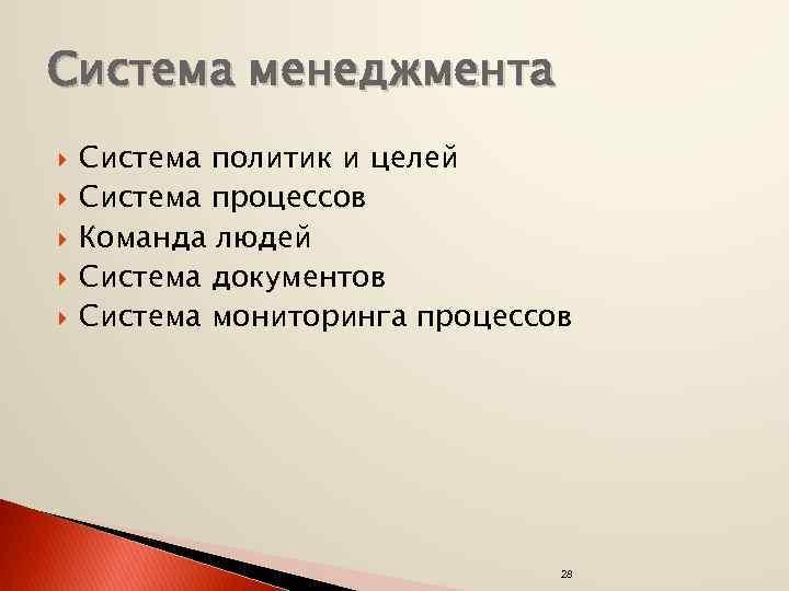 Система менеджмента Система политик и целей Система процессов Команда людей Система документов Система мониторинга