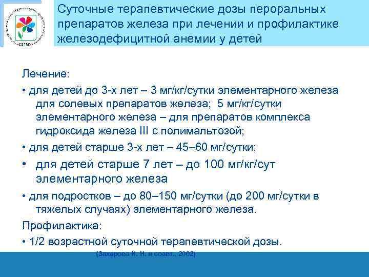 Суточные терапевтические дозы пероральных препаратов железа при лечении и профилактике железодефицитной анемии у детей