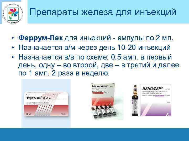 Препараты железа для инъекций • Феррум-Лек для иньекций - ампулы по 2 мл. •