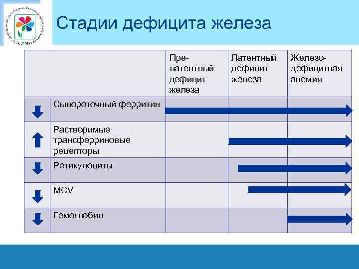 Стадии дефицита железа Прелатентный дефицит железа Сывороточный ферритин Растворимые трансферриновые рецепторы Ретикулоциты MCV Гемоглобин