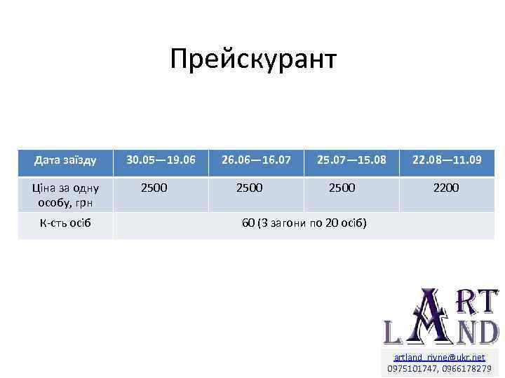 Прейскурант Дата заїзду Ціна за одну особу, грн К-сть осіб 30. 05— 19. 06