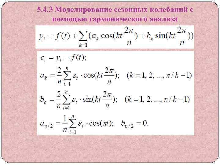 5. 4. 3 Моделирование сезонных колебаний с помощью гармонического анализа