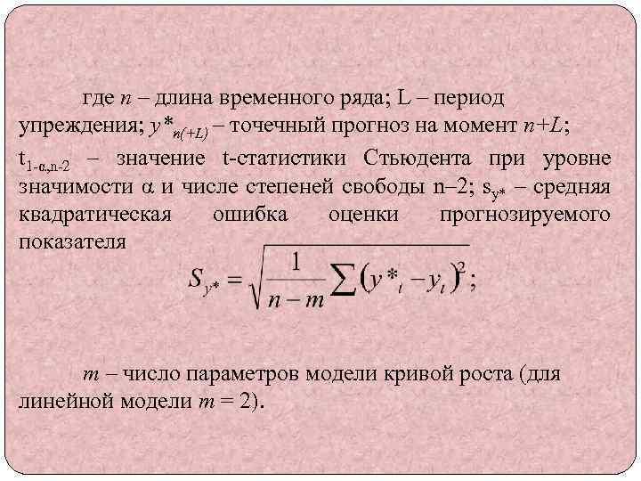 где n – длина временного ряда; L – период упреждения; y*n(+L) – точечный прогноз
