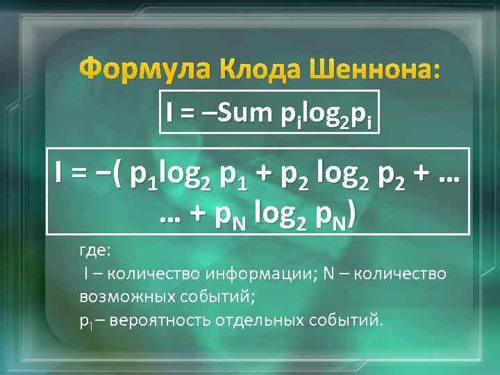 Формула Клода Шеннона: I = –Sum pilog 2 pi I = −( p 1
