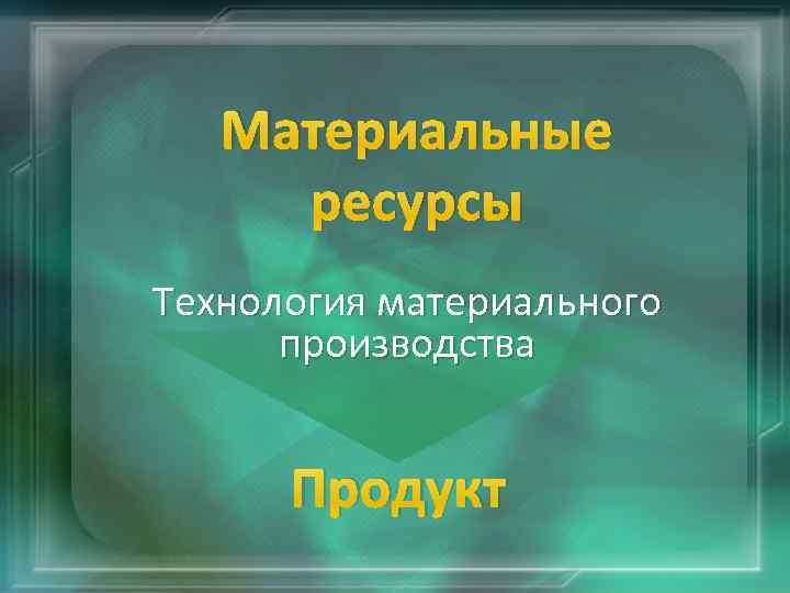 Материальные ресурсы Технология материального производства Продукт