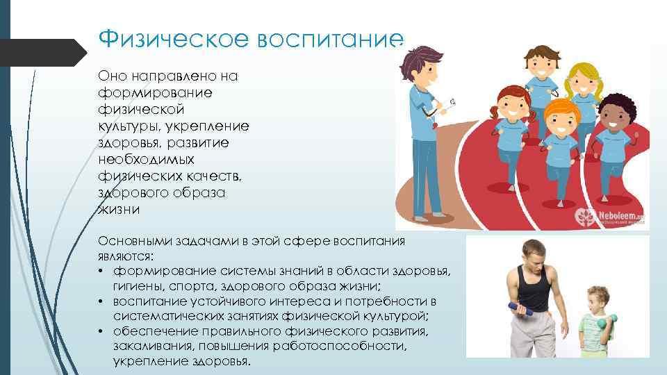 Физическое воспитание Оно направлено на формирование физической культуры, укрепление здоровья, развитие необходимых физических качеств,