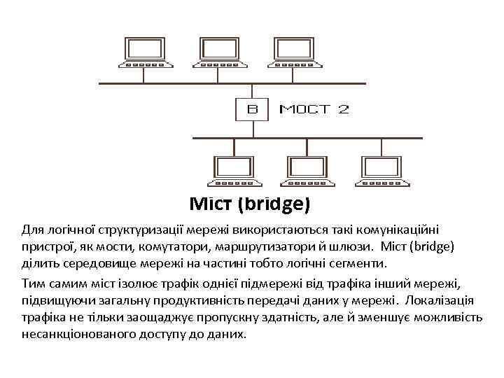 Міст (bridge) Для логічної структуризації мережі використаються такі комунікаційні пристрої, як мости, комутатори, маршрутизатори