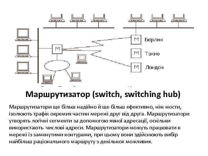 Маршрутизатор (switch, switching hub) Маршрутизатори ще більш надійно й ще більш ефективно, ніж мости,