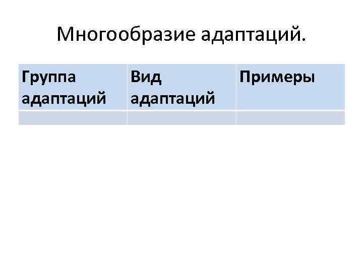 Многообразие адаптаций. Группа адаптаций Вид адаптаций Примеры